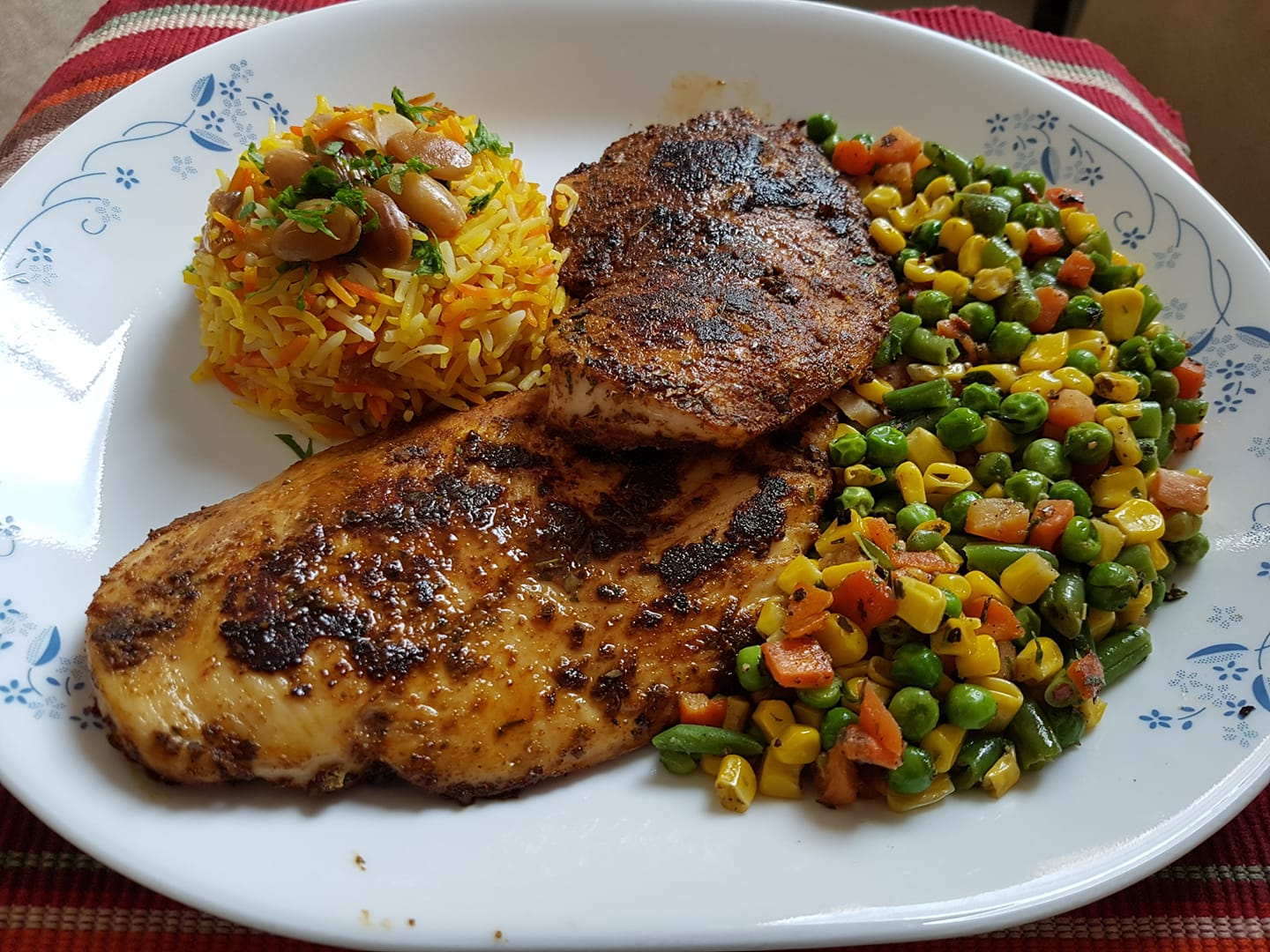 Rasoi_Recipes_Baked chicken with sauteed vegetables and flavoured rice